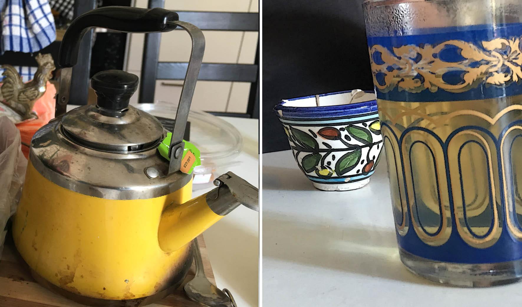כוסות תה וקנקן צהוב