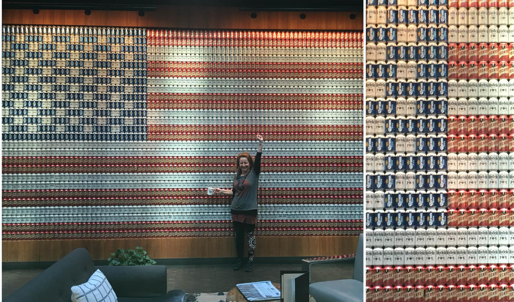 קיר שלם בלובי המלון, עשוי מפחיות בירה, Dream Hotel